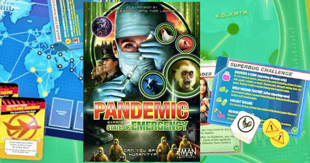 Pandemic: State Of Emergency Strategic Board Game box and pieces in background
