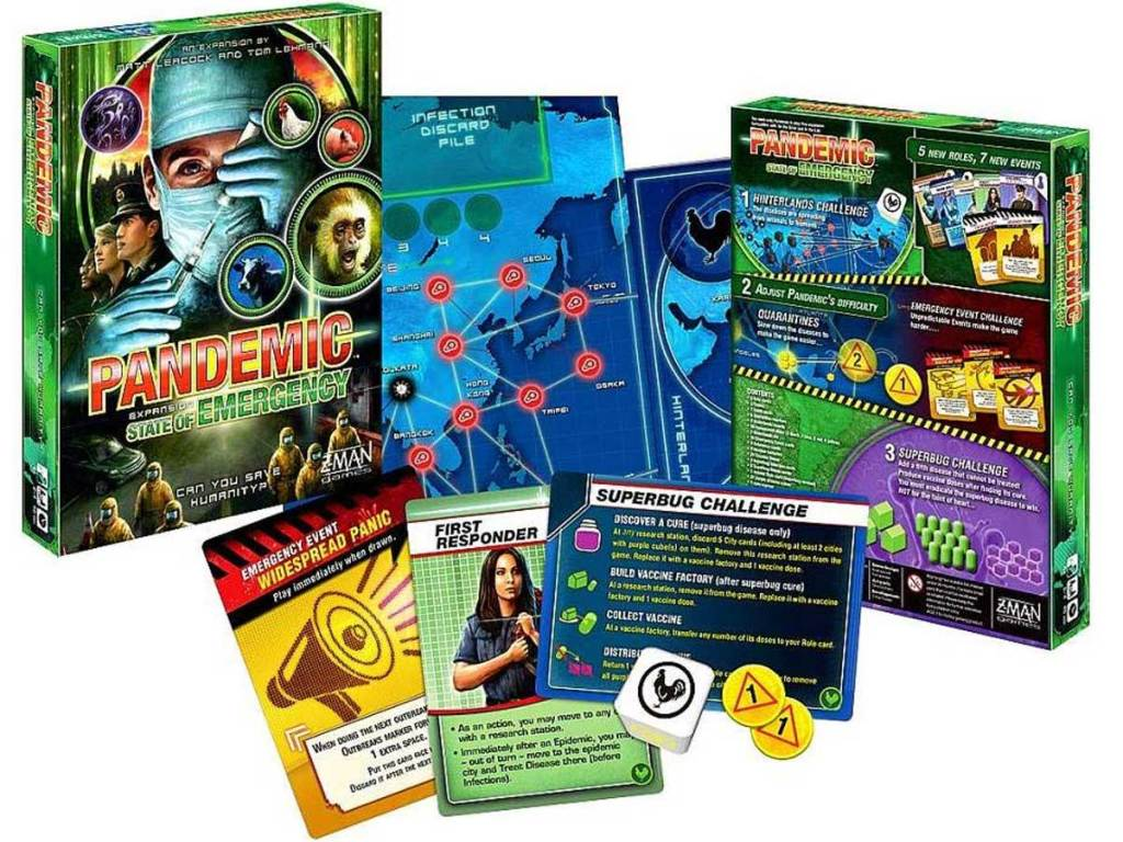 Pandemic: State Of Emergency Strategic Board Game game box and pieces all laid out on display