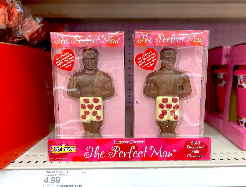 two chocolate men in the perfect man boxes on store shelf