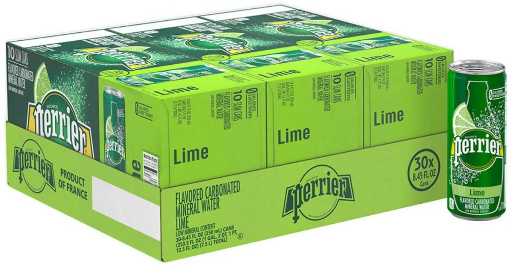 boxes of cans of fizzy water