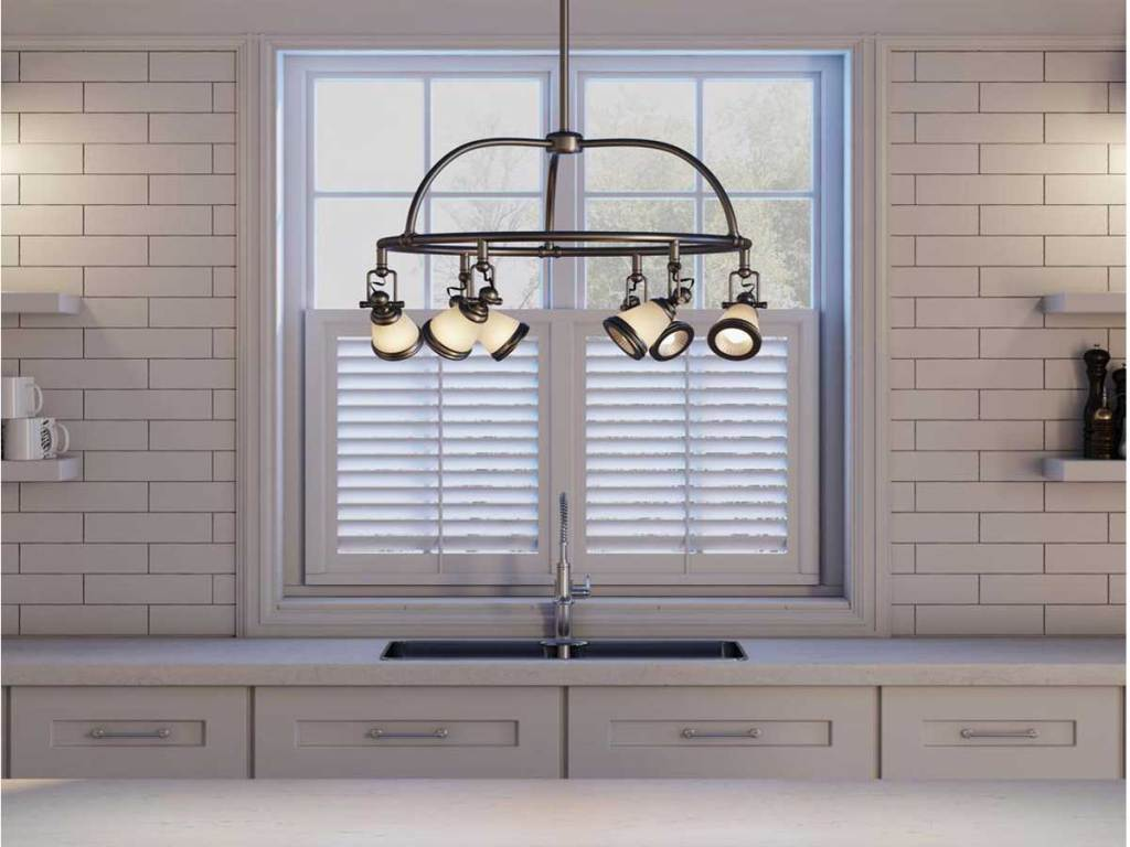 Hampton Bay 6-Light Antique Pewter Chandelier with Frosted Glass Shades in a kitchen