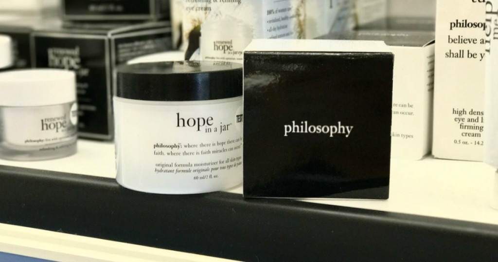 jar of philosophy brand skin care on counter on display near box