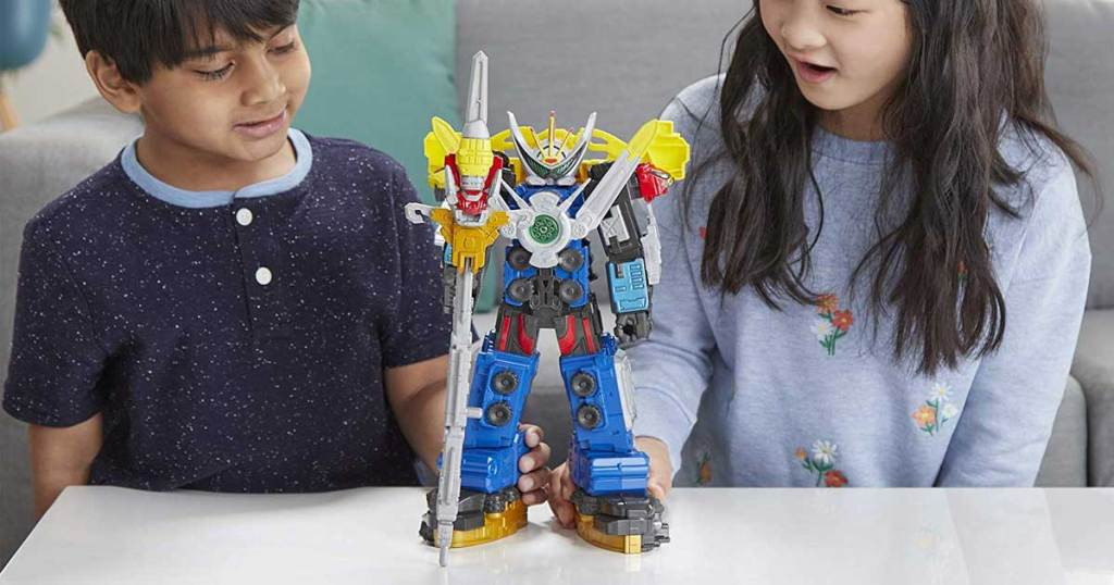 girl and boy playing with Power Rangers Beast Morphers Beast-X Ultrazord Power Rangers Action Figure Toy