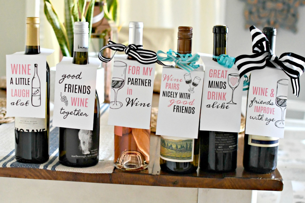 bottles of wine with free printable wine gift tags