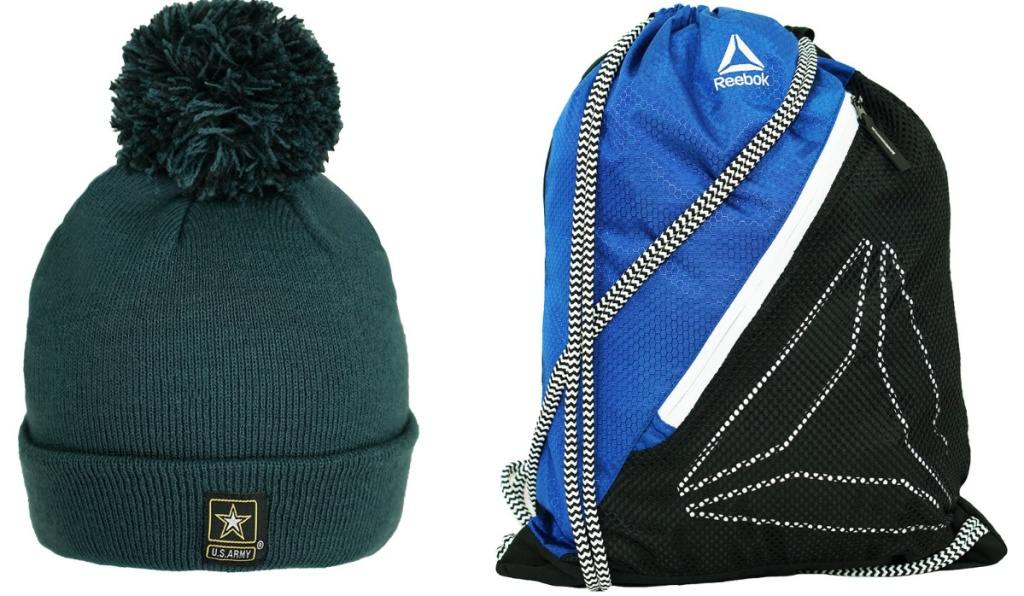 green army winter hat and reebok bag