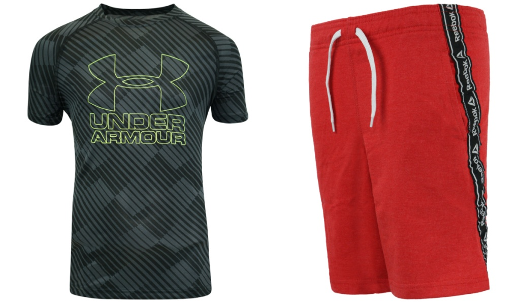 under armour shirt and reebok red shorts