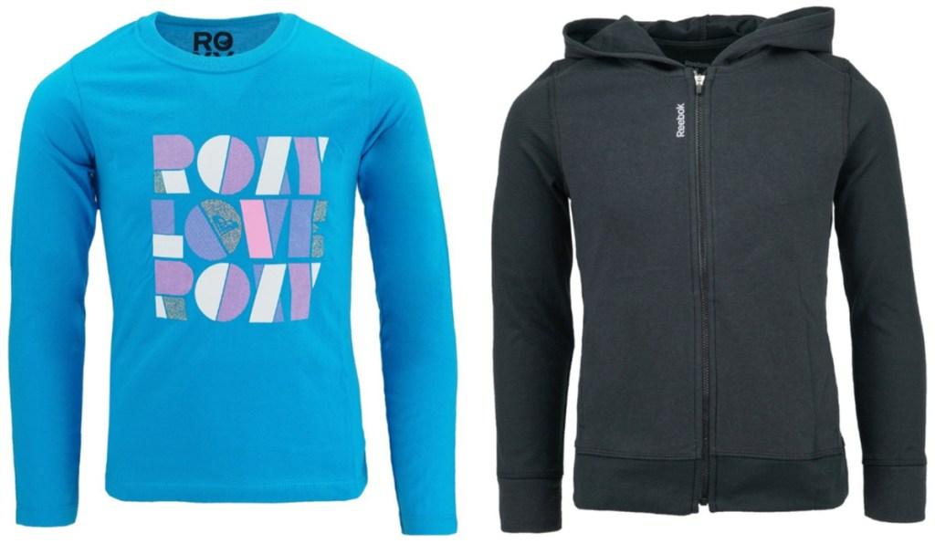 girls blue roxy shirt and reebok zip up sweatshirt