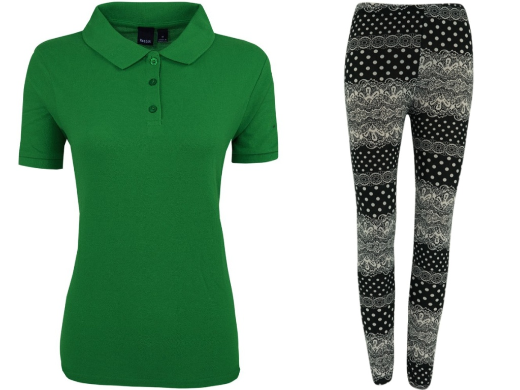 womens green polo and patterned leggings