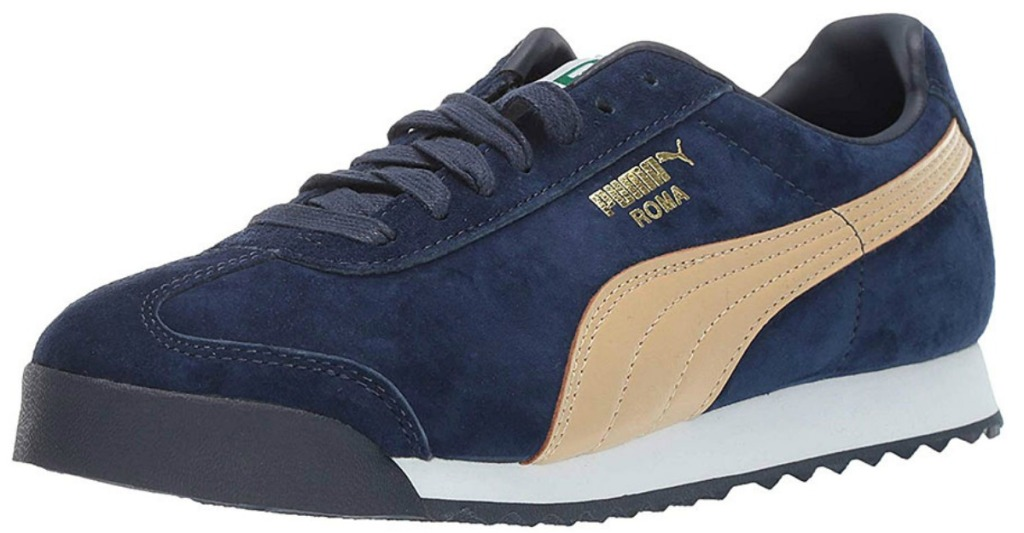 boys navy blue and tan suede sneaker with PUMA brand on white background