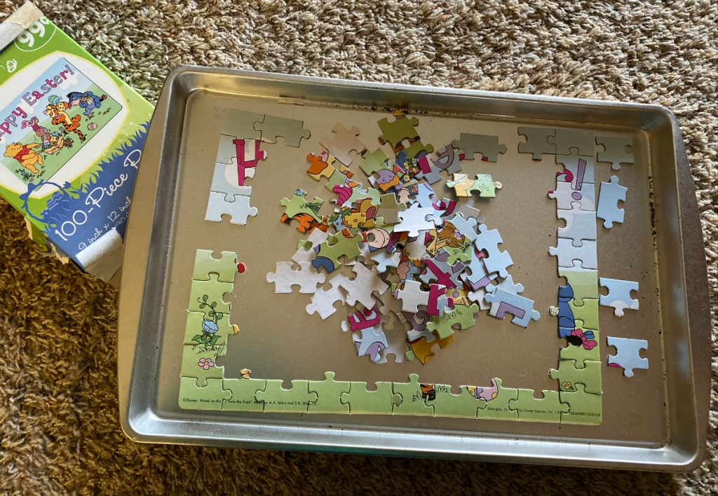 puzzle on dollar store tray