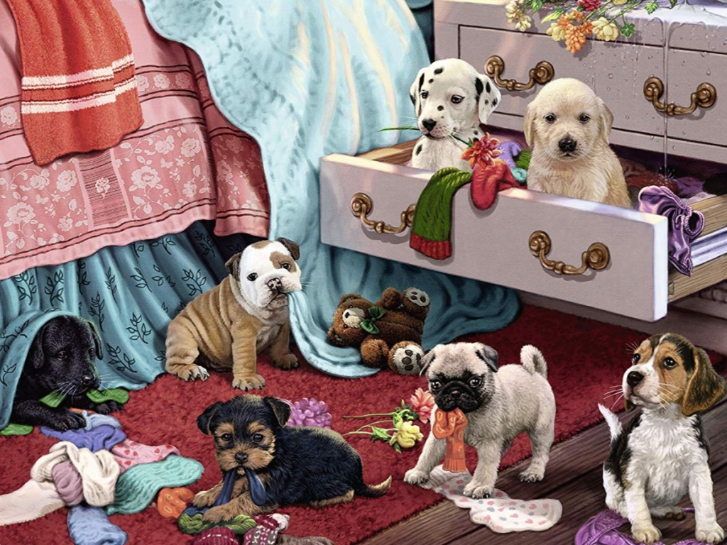 puzzle with picture of dogs on bedroom floor and in dresser