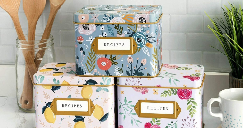 anthropologie home look alike kitchen dupe recipe box from amazon