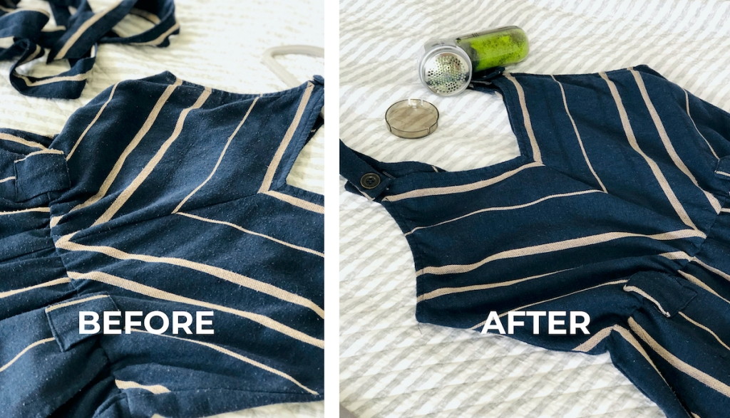 before and after of navy blue romper on bed with fabric shaver tool