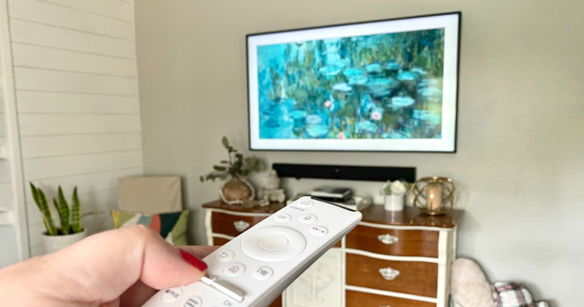samsung frame TV in living room