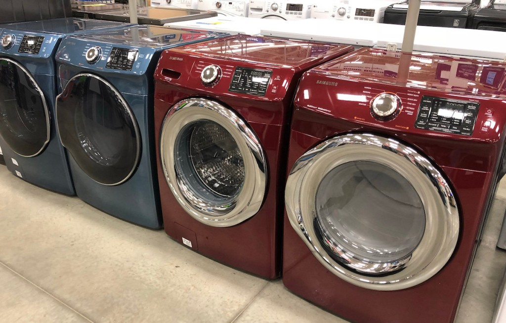 blue and red laundry room appliances