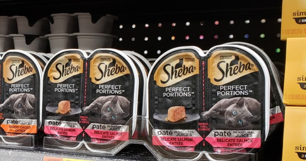 sheba perfect portions pate on store shelf