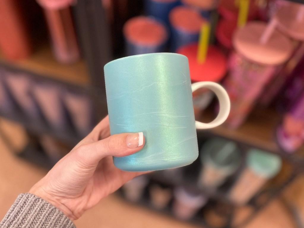 Shiny teal mug at Starbucks