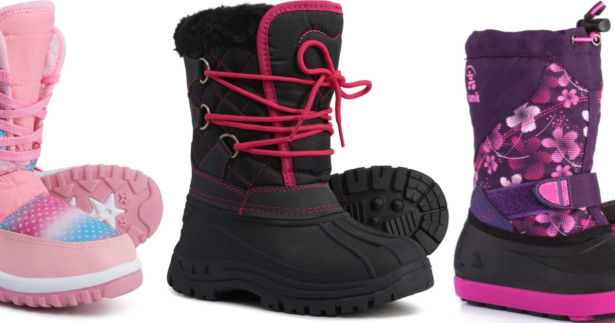 pink, black, and purple colorful girls snow boots pictured together