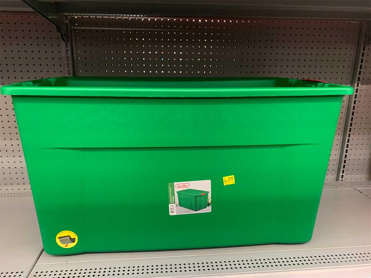 sterilite wheeled green 45 gallon christmas tote on shelf in store