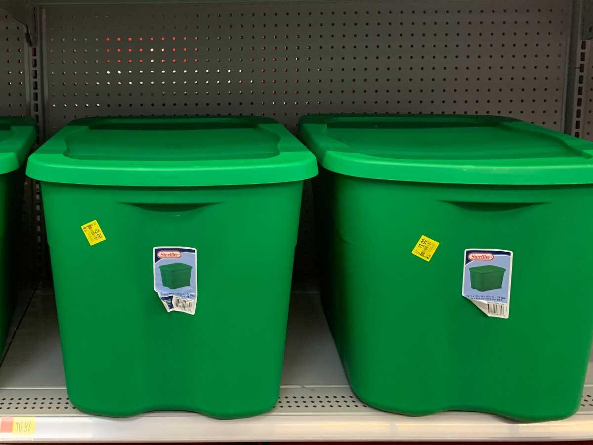 Sterilite Gallon Totes in elf green on shelf in store