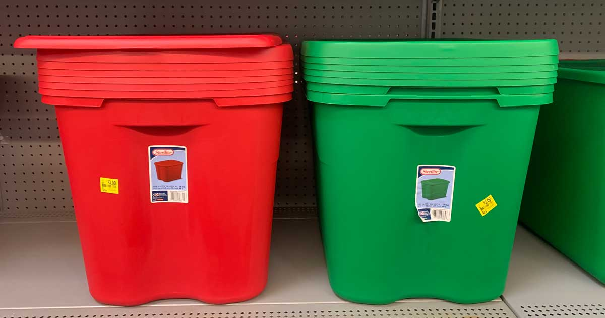red and green sterilite storage totes on shelf in store
