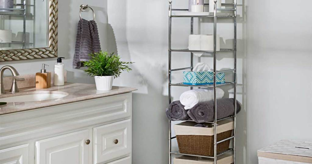 Honey-Can-Do 6-Tier Bathroom Storage Shelving Unit in a bathroom