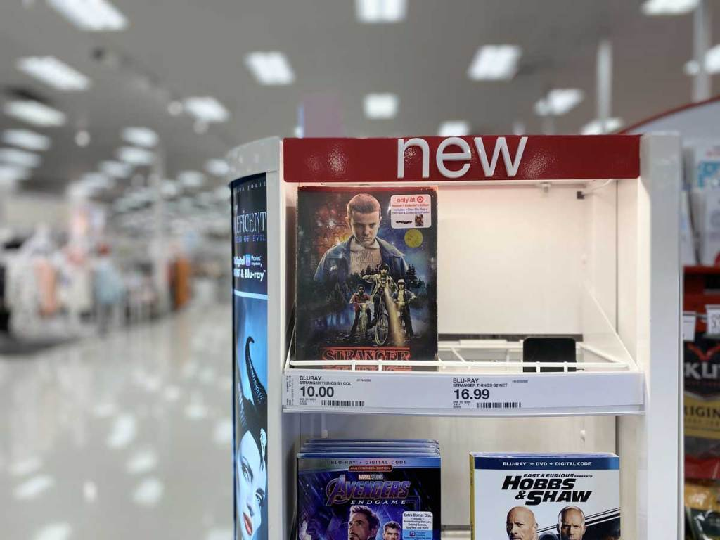 Stranger Things Seasons 1 & 2 DVD + Blu-ray, 4K UHD on display in a store