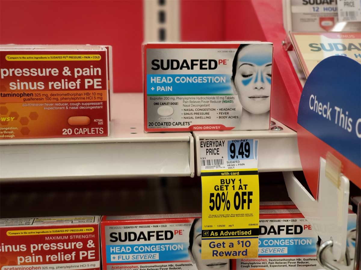 Sudafed head congestion and pain on shelf in store