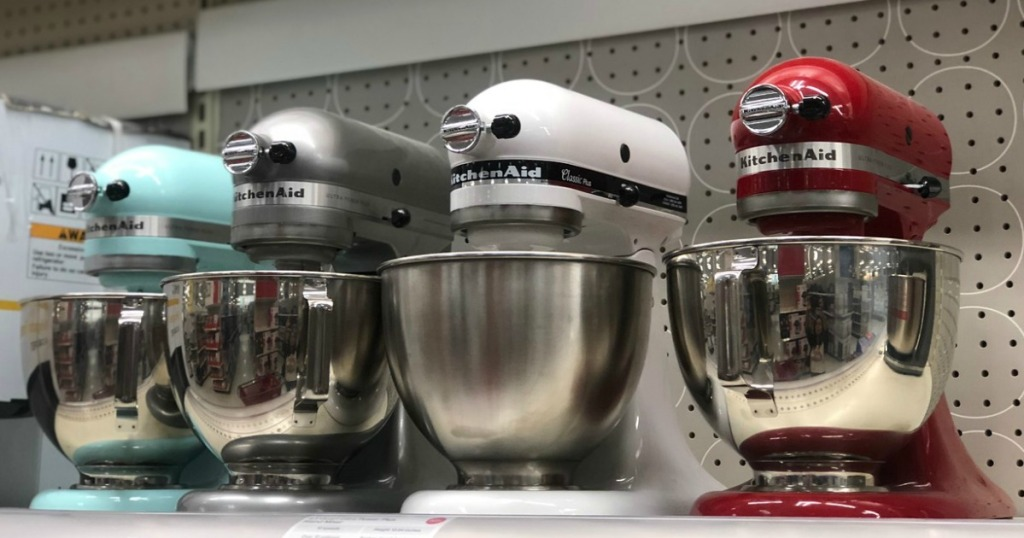 kitchenaid stand mixers on display in a store