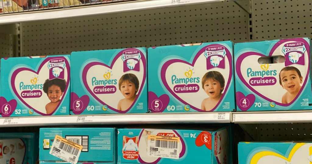 boxed diapers on a shelf in a store