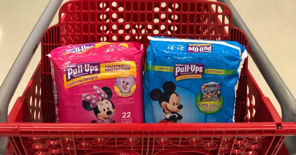 jumbo pack bags of training pants in a store shopping cart