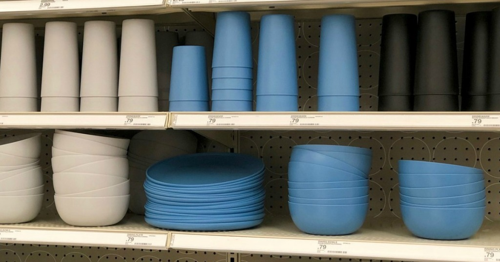 plastic dishes displayed on a store shelf
