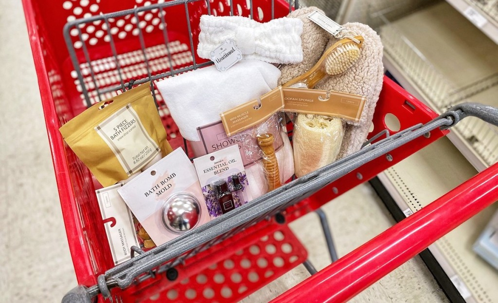 target red cart full of spa stuff