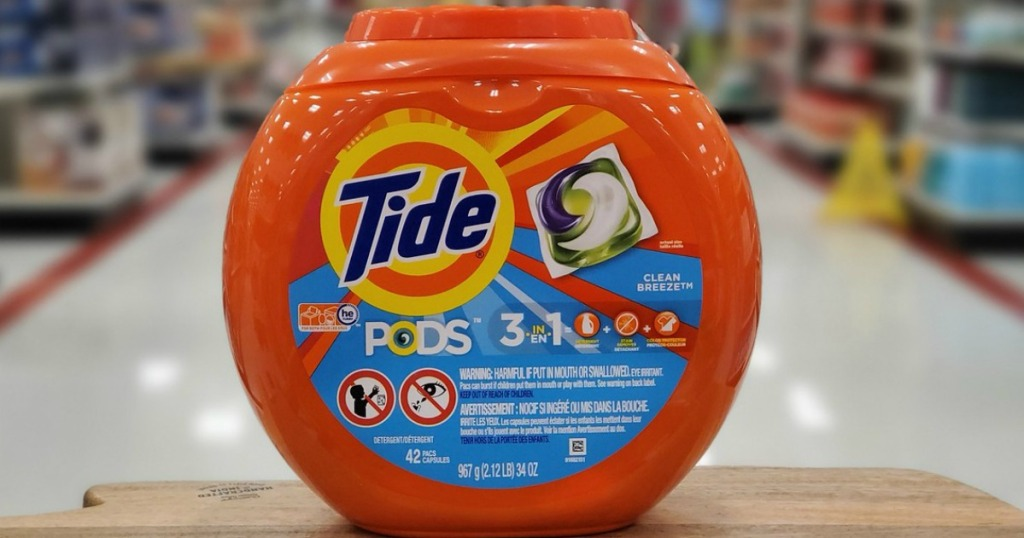 laundry pods on display in a store