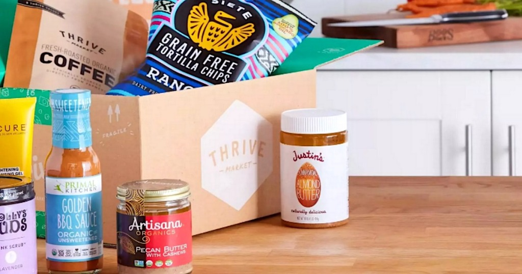 groceries from Thrive Market next to shipping box