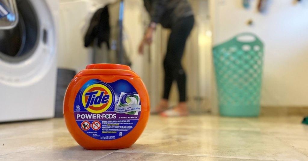 Tide Power PODS on laundry room floor