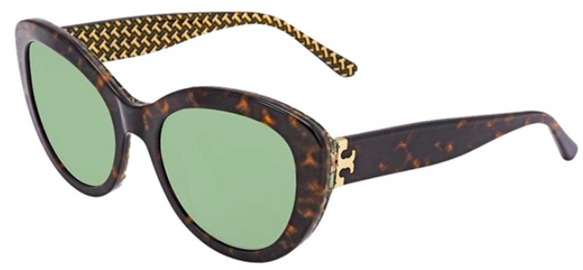 Tory Burch Tortoise Rounded Cat-Eye Sunglasses stock image