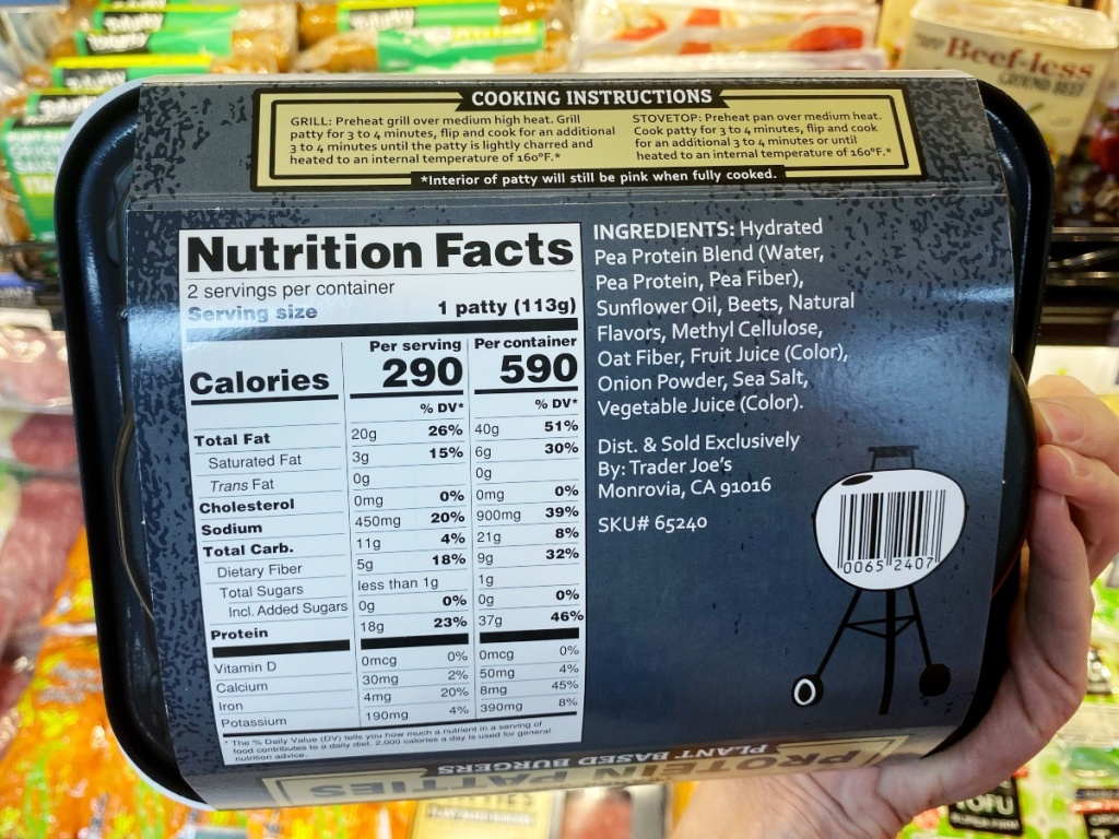 nutritional info on Trader Joe's protein patties