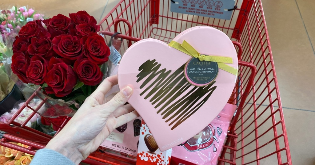 Valentine's Day products in Trader Joe's shopping cart