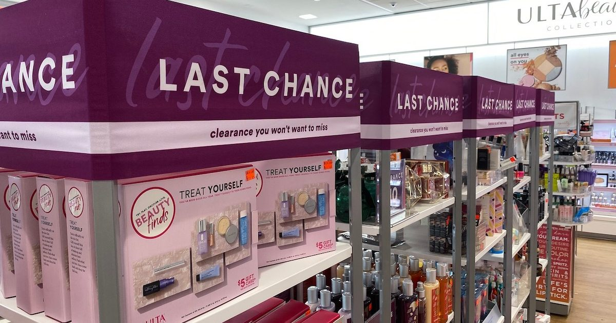 row of ulta clearance racks with various beauty products on them