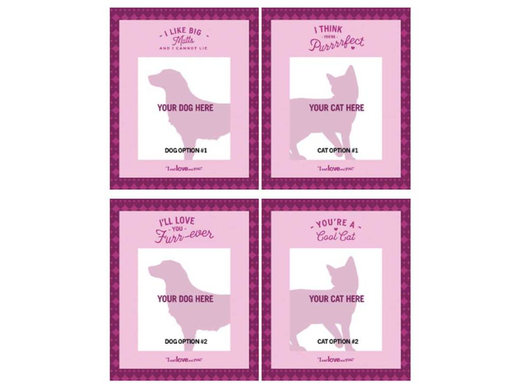 four card designs for a valentine from your pet