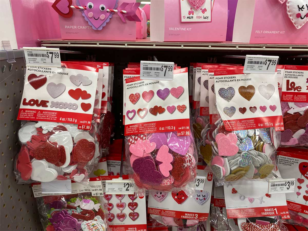 store display of valentine's day foam stickers in a craft store