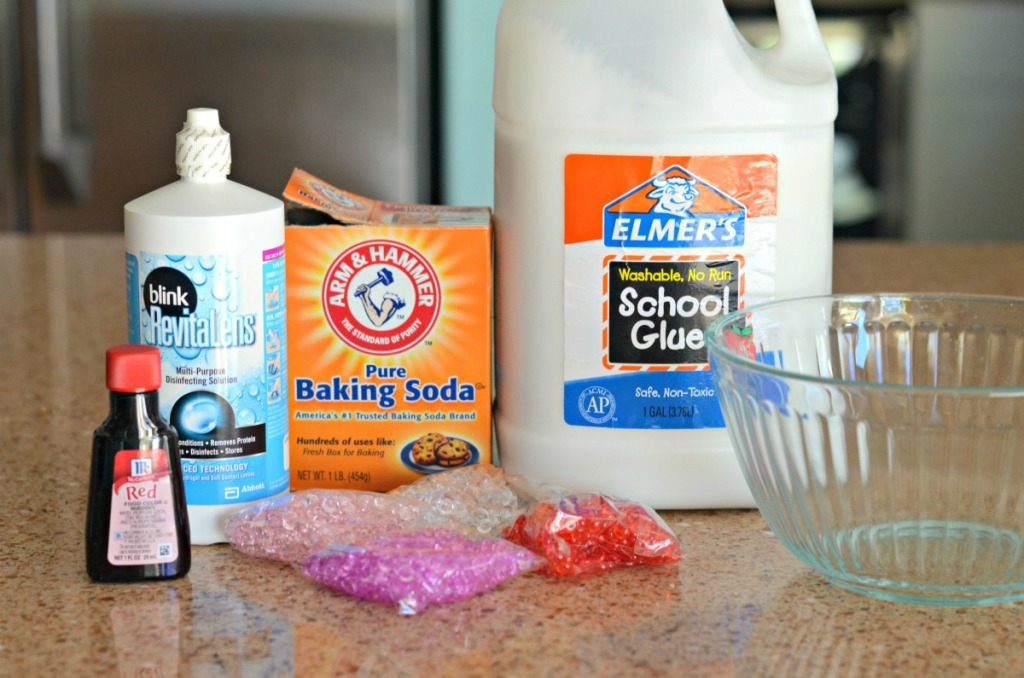 valentine's day slime supplies on the counter