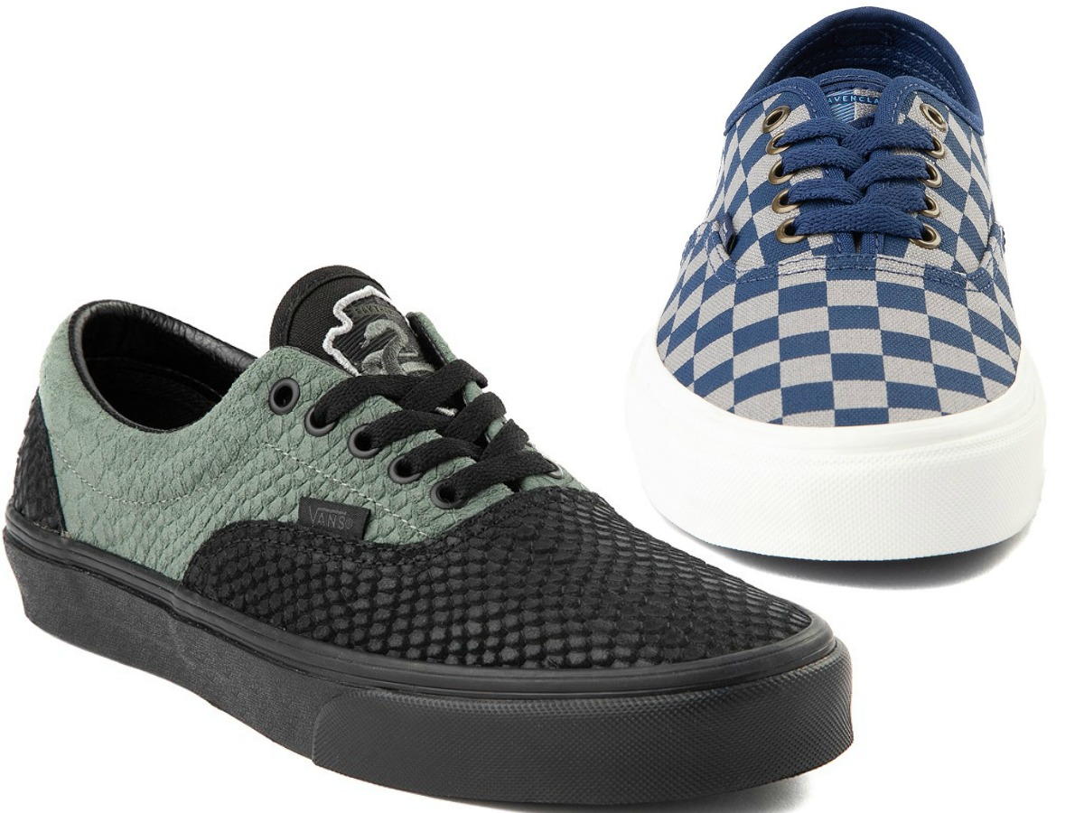 black and green shoe and blue and gray checkered shoe