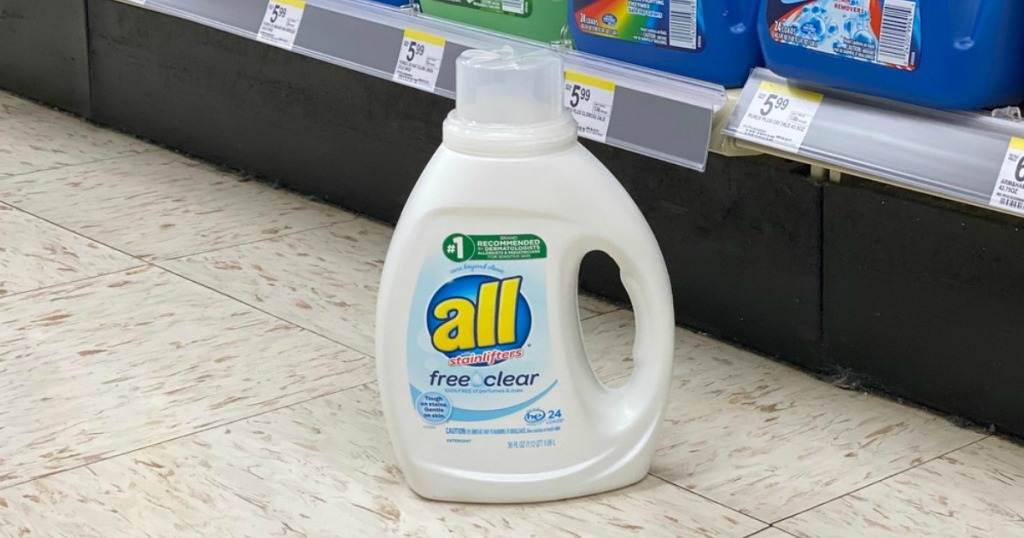 laundry detergent on the floor in a store