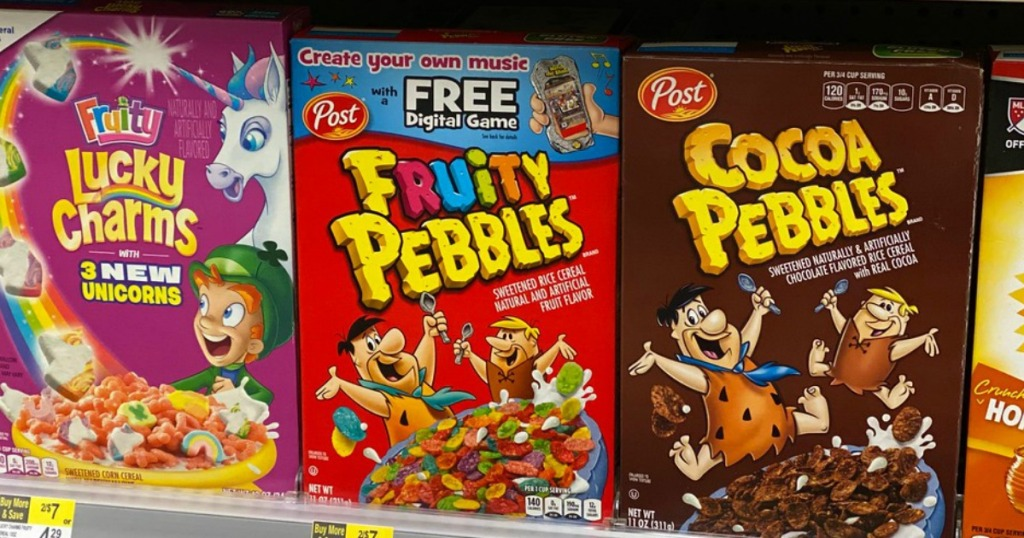 kids' cereal on a store shelf