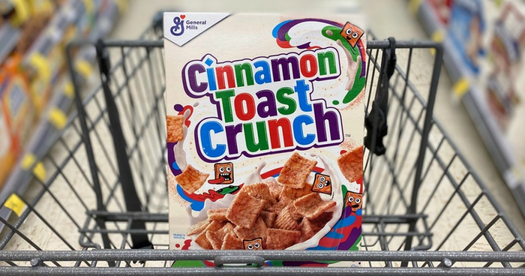 cereal in a store shopping cart
