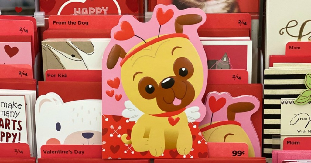 hallmark valentine's day cards on display in a store