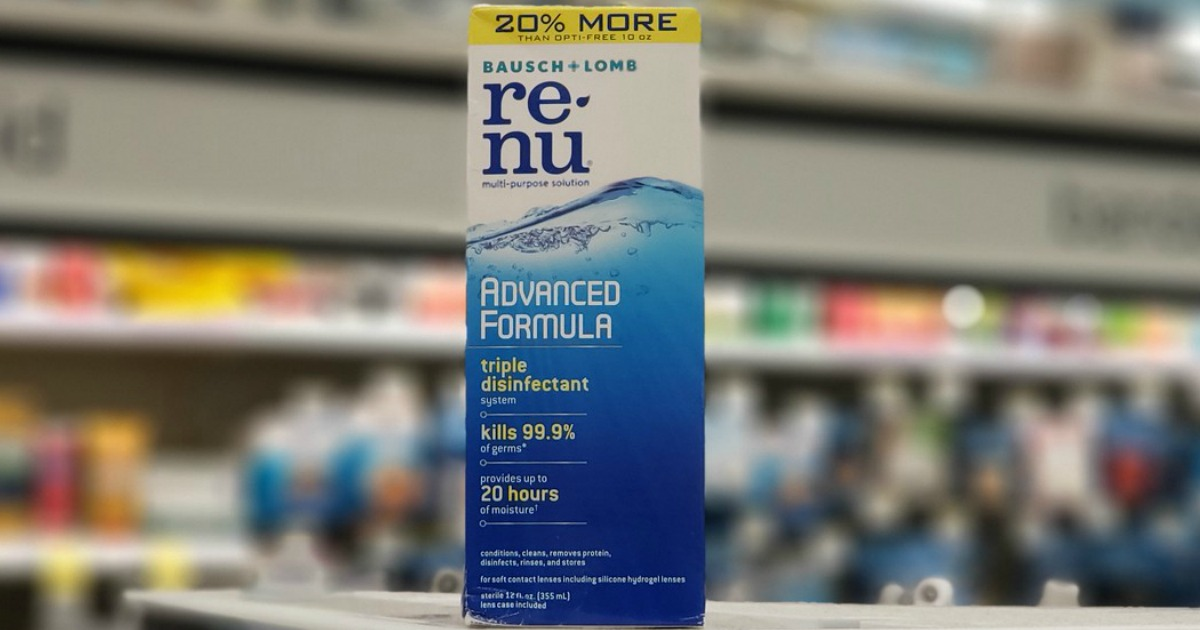 contact lens solution on display in a store