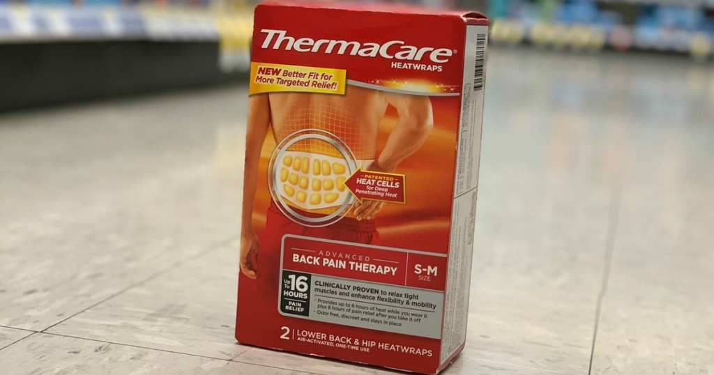 thermacare heatwraps on the floor at walgreens